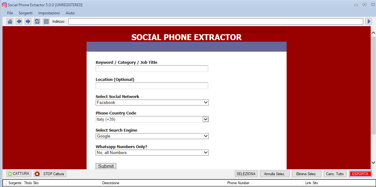 Social Phone Extractor